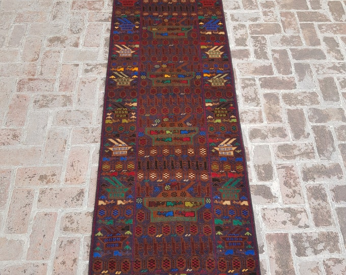 87x296 Afghan hand knotted war rug runner - decorative rug runner - wool rug runner - afghan baluch runner rug - free shipping