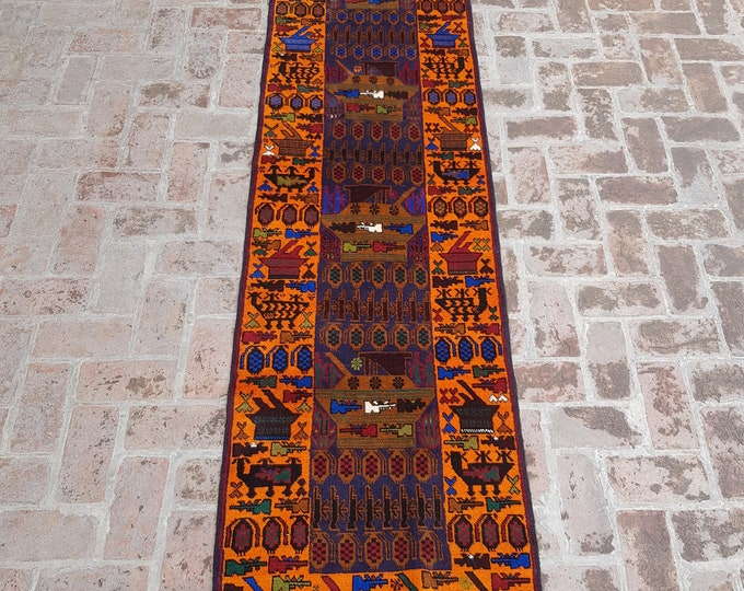 76x300 Afghan hand knotted war rug runner - decorative rug runner - wool rug runner - afghan baluch runner rug - free shipping