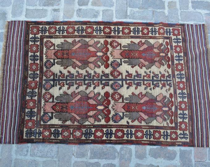 Vintage Afghan Tribal Berjesta Kilim Rug / Free Shipping/ 118 x 201 cm