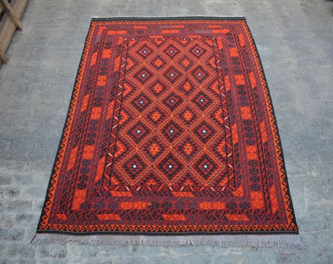 7'7 x 10'7 ft. - Vintage Afghan Tribal ghalmori kilim Rug, Traditional Handwoven Kilim