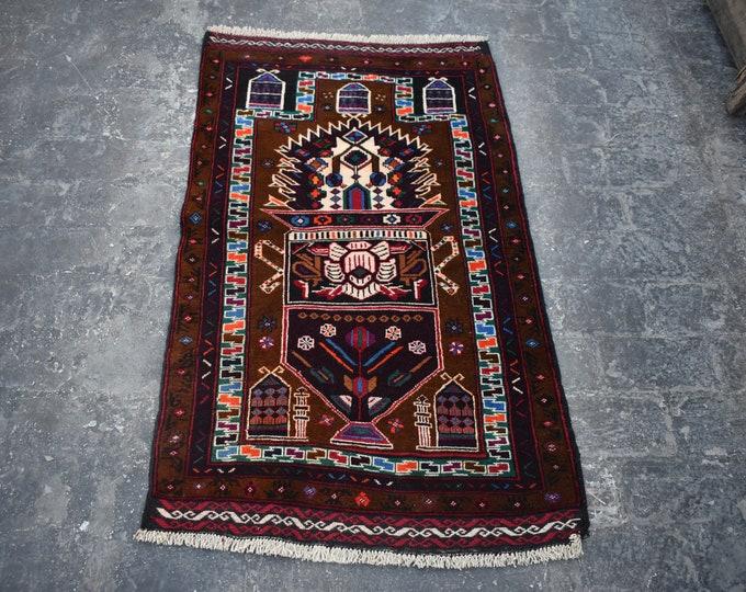2'6 x 4'6 Afghan rug - hand knotted wool rug - kitchen rug - area rug - tribal rug - turkish small rug - free shipping