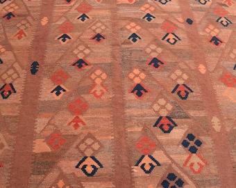 208 x 287 Large Afghan handwoven kilim - modern kilim - living room rug - dining room rug - turkish kilim rug - traditional kilim rug