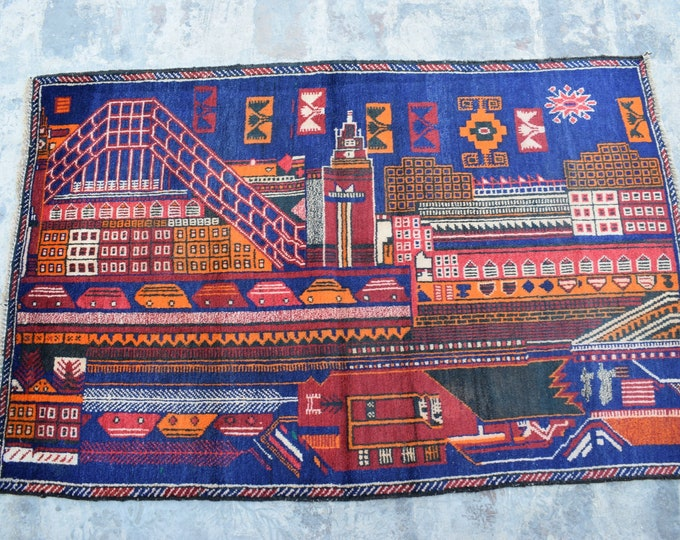 Free Shipping /Afghan hand knotted tribal Rug/ 3'0 x 4'6 ft.