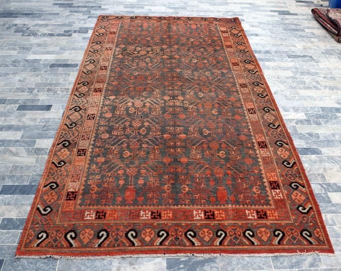 Antique Orange Chinese Khotan Handmade Art Deco Rug - Living room rug, Bedroom rug, FREE SHIPPING