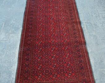 Vintage Afghan turkoman tribal rug runner handmade wool rug runner/ Decorative rug vintage afghan traditional rug runner/ Bohemian Decor rug