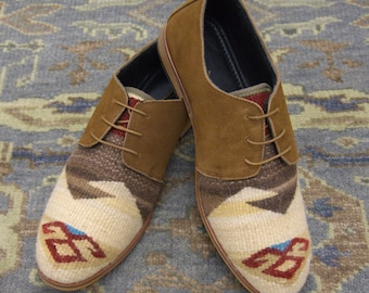 Handmade Men's kilim Loafers / wool kilim Shoes bohemian style