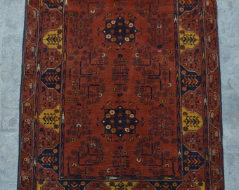 FREE SHIPPING 3.3 x 4.10 ft Afghan Vintage Tribal turkman rug /Home decor Rug this rug will make your house even more Beautiful and colorful