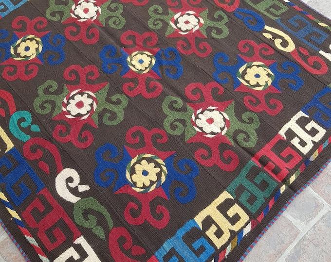 160x170 Chocolate Afghan Embroidery kilim - Tribal kilim - wool kilim - Decorative kilim - living room rug kilim - free Shipping