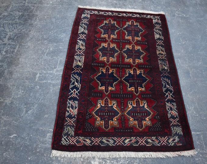 3'10 x 4'6 Afghan rug - hand knotted wool rug - kitchen rug - area rug - tribal rug - turkish small rug - free shipping