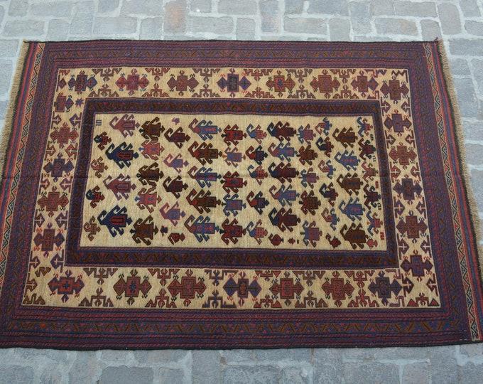 Afghan tribal handmade berjesta large kilim rug/ Free Shipping/ 163 x 236 cm