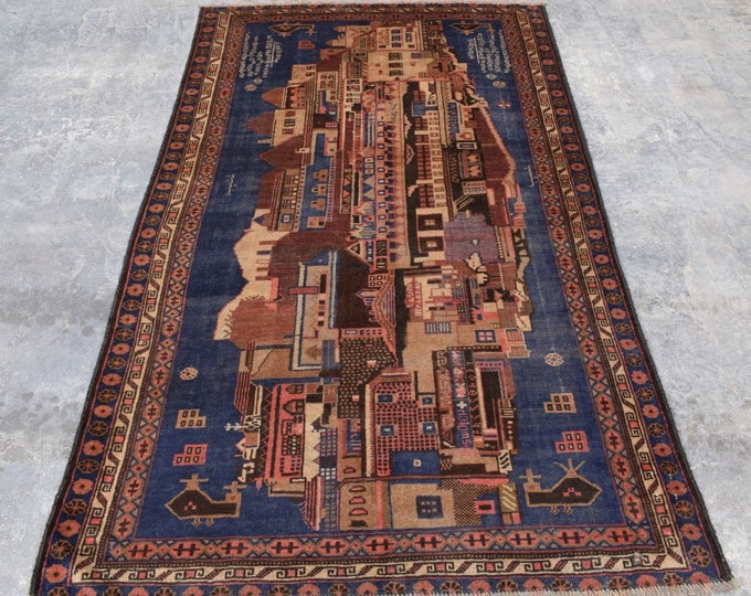 4'0 x 6'10 - Best Quality Vintage Afghan City Map Hand knotted rug, Free Shipping