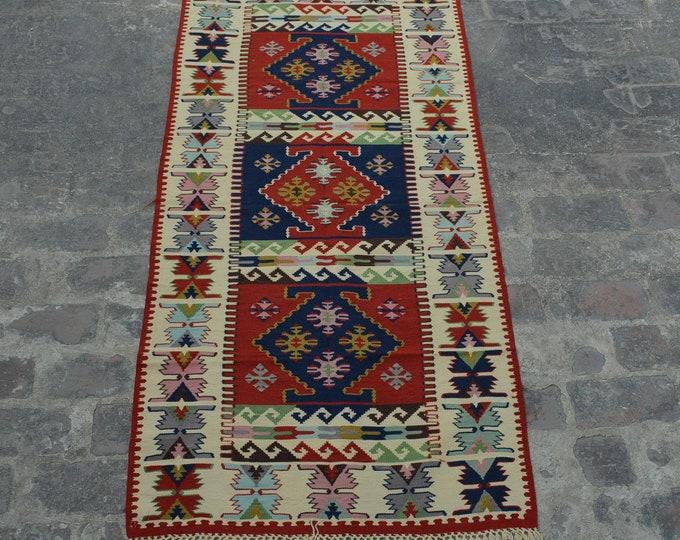 Vintage Spectacular handwoven tribal Caucasian nomadic kilim / Traditional kuchi kilim/ decorative Caucasian Gypsy kilim