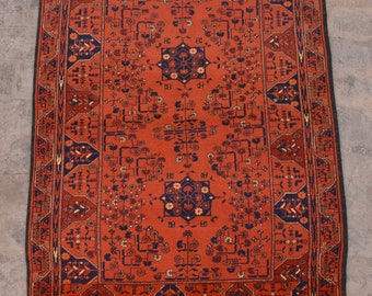 FREE SHIPPING 3.5 x 5.1 ft Afghan Vintage Tribal turkman rug /Home decor Rug this rug will make your house even more Beautiful and colorful