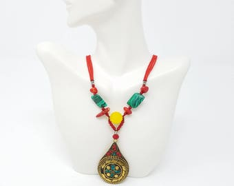 Beautiful vintage Afghan kuchi necklace Pendant/ gypsy Ethnic jewelry/ Afghan jewelry , Gypsy style jewelry Boho style