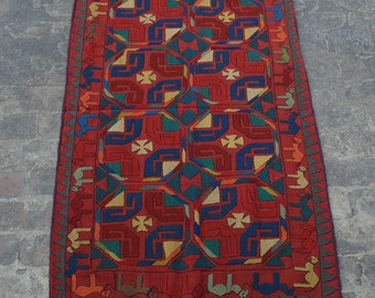 Vintage Uzbek handwoven suzani kilim Embroidered decorative kilim/ Decorative suzan kilim rug elegant design