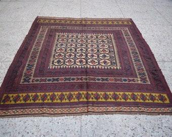 Vintage Afghan tribal kilim rug - Burjesta afghan handmade rug - Wide afghan rug - vintage nomad rug - free shipping - 6'10 x 7'7