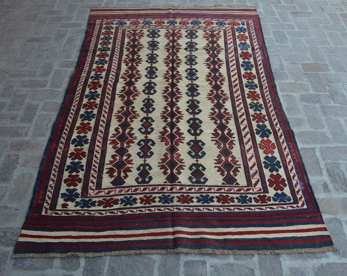 Beautiful Handwoven Afghan Sumak Kilim Rug/ Free Shipping/ 176 x 271 cm