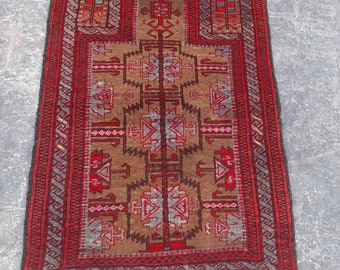 Tribal handmade Faryab prayer rug, Red prayer rug