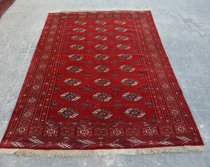 best quality Vintage Afghan turkoman tribal chobbash bokhara handmade wool rug / Decorative rug vintage afghan traditional rug