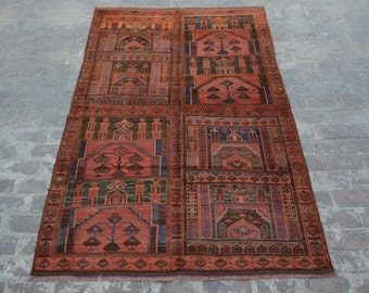 Unique Antique Afghan Nomadic tribal handmade wool large prayer rug / Decorative rug vintage afghan traditional kawdani prayer rug