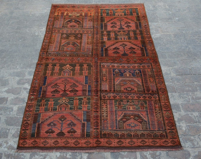 Unique Antique Afghan Nomadic tribal handmade wool large prayer rug / Decorative rug vintage afghan traditional kawdani prayer rug