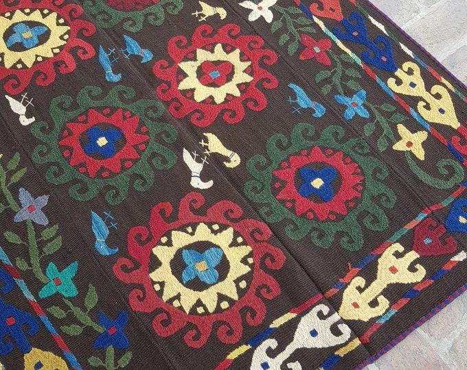 138x162 Chocolate Afghan Embroidery kilim - Tribal kilim - wool kilim - Decorative kilim - living room rug kilim - free Shipping