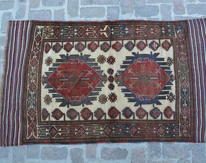 Vintage Afghan Tribal Berjesta Kilim Rug / Free Shipping/ 117 x 199 cm
