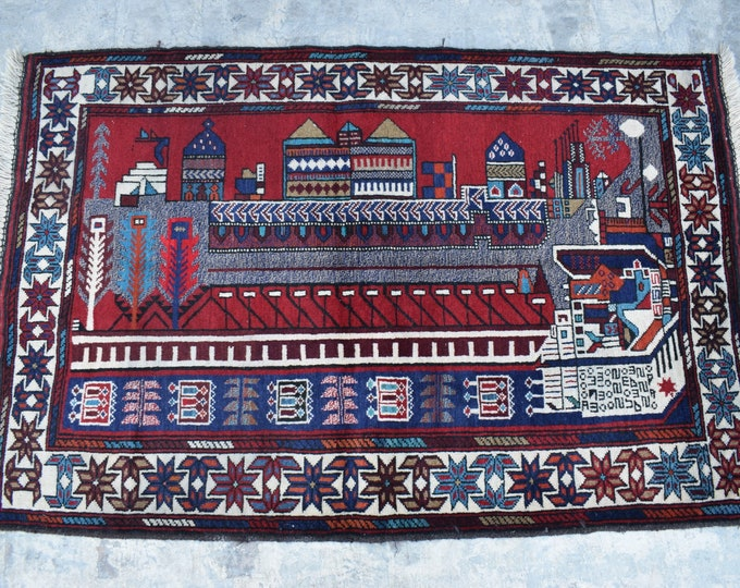 Free Shipping /Afghan hand knotted tribal Rug/ 3'0 x 4'7 ft.