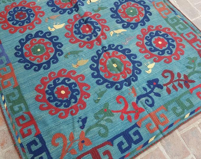 155 x 186 Baby blue Afghan Embroidery kilim - Tribal kilim - wool kilim - Decorative kilim - living room rug kilim - free Shipping