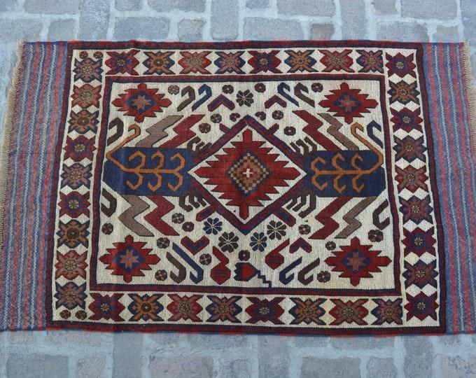 Vintage Afghan Tribal Berjesta Kilim Rug / Free Shipping/ 113 x 187 cm