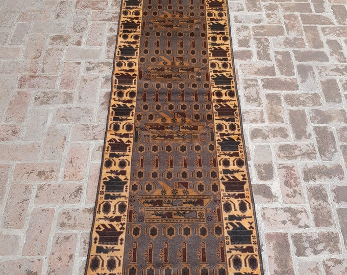 84x294 Afghan hand knotted war rug runner - decorative rug runner - wool rug runner - afghan baluch runner rug - free shipping