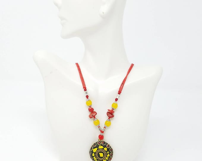 Beautiful Afghan kuchi Coral Necklace , gypsy pendant /Afghan jewelry , Gypsy style jewelry Boho necklace