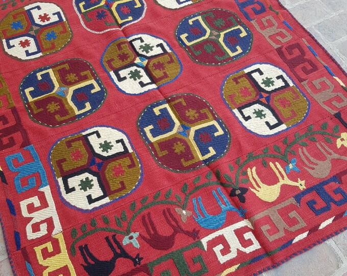 153x195 Red Afghan Embroidery kilim - Tribal kilim - wool kilim - Decorative kilim - living room rug kilim - free Shipping