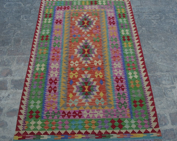 Large Vintage Stunning handwoven tribal Afghan hazara Ghalmori kilim / Traditional kuchi kilim decorative Turkish kilim