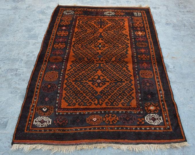 Elegant Handmade Afghan vintage Woolen area rug / 100% wool tribal hand knotted rug