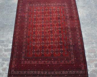 Vintage Afghan turkoman tribal Traditional handmade wool rug / Decorative rug vintage afghan traditional rug / tribal handmade afghan decor