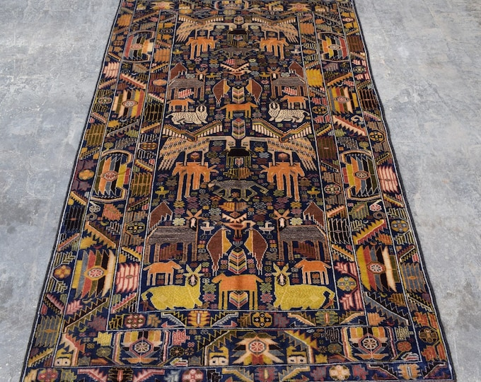 3'11 x 6'7 - Vintage Terracotta Animal Area Rug for living room Afghan rug boho rug wool rug handmade rug