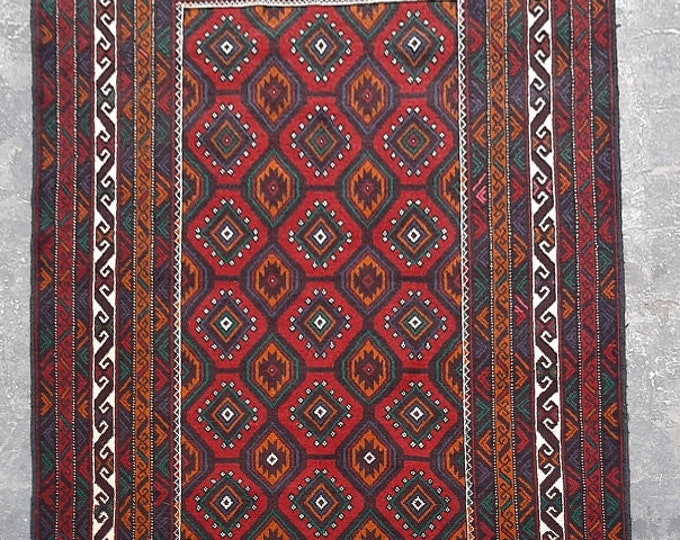 4'0 x 6'1 ft. Afghan tribal hand knotted rug, Traditional Baluchi rug, Free Shipping