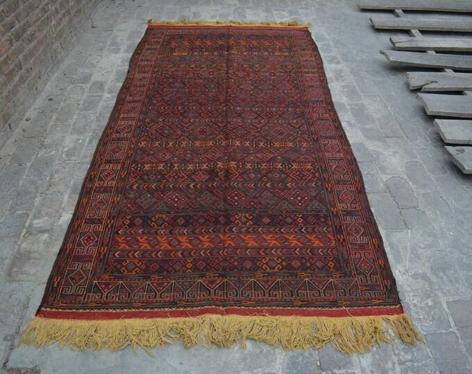 Vintage Spectacular handwoven tribal Afghan nomadic kilim / Traditional kuchi kilim/ decorative Turkish Gypsy kilim