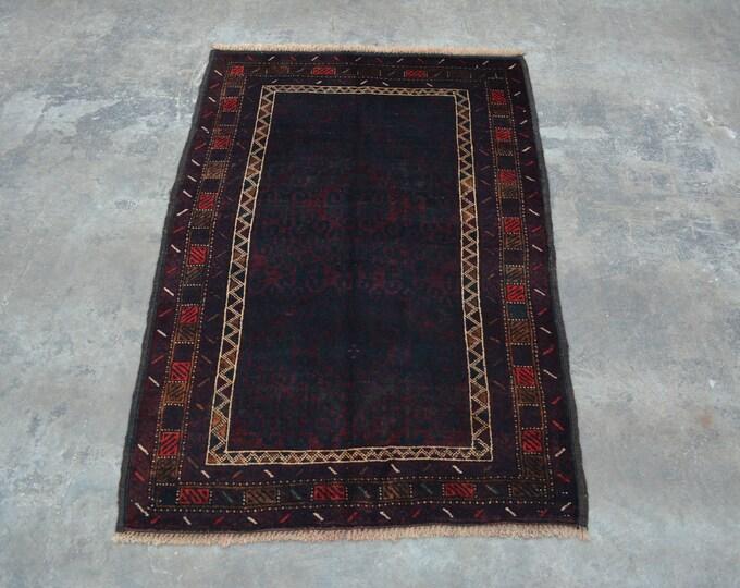 Elegant Afghan turkoman traditional vintage nomad zanjirgul baluchi rug