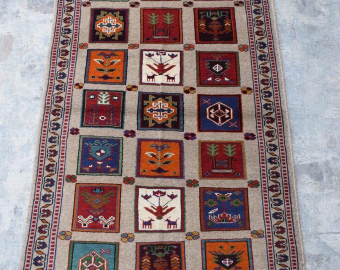 Elegant hand knotted Afghan Ayna Tribal Rug/ 2'9 x 4'5
