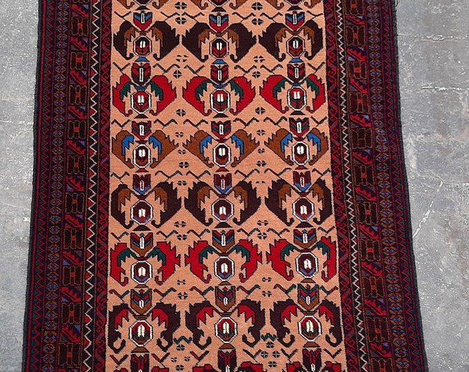 3'2 x 4'9 ft. Afghan tribal hand knotted rug, Traditional Baluchi rug, Free Shipping
