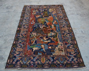 Nomad's Genuine Hand Knotted Afghan Aksi Balouch Pictorial Wool Area Rug /Wall hanging Wool rug / baluch hand knotted wool pictorial Carpet