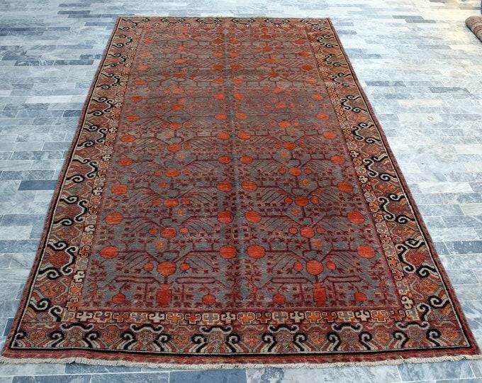 "Antique 6'7"" x 13'0"" Khotan Rug Pomegranate Hand Knotted Wool Rug Art Deco Rug 1910s - FREE SHIPPING, Bedroom rug, Livingroom rug"