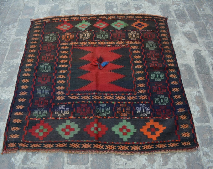 Afghan Tribal Vintage Sofreh kilim rug / square Sofreh kilim handwovn kilim turkish kilim/ Traditional afghan sofrah kilim nomadic kilim rug