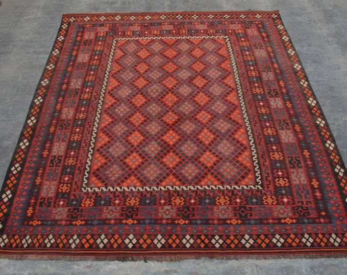 "8'0 x 9'6"" ft. Beautiful Square Tribal handwoven Afghan tribal kilim Rug/ Free Shipping"