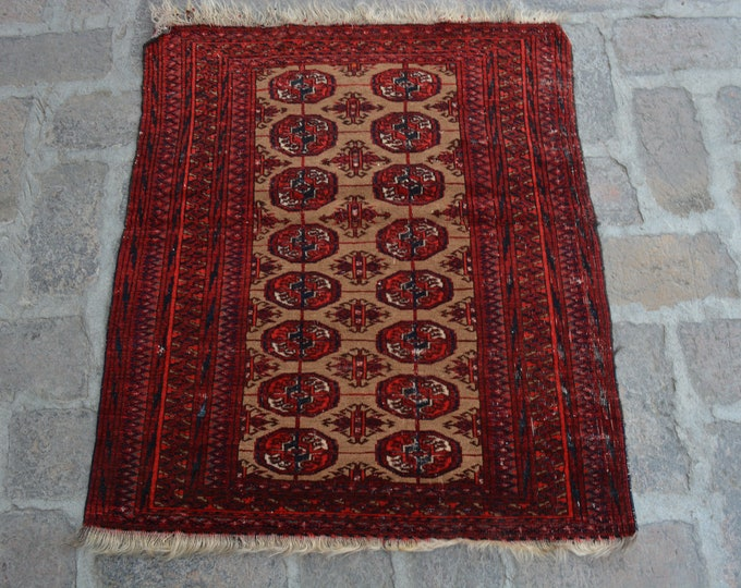 Vintage Afghan handmade Rug/ Free Shipping 79 x 82 cm