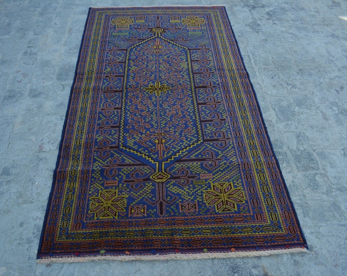 FREE SHIPPING 3'6 x 6'6 ft Vintage Afghan tribal hand knotted rug/ This Traditional Rug will make you room even more beautiful and colorful