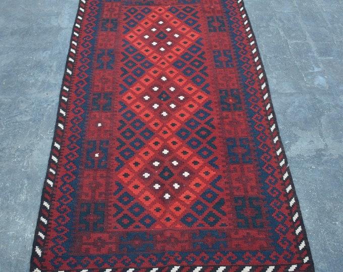 3'4 x 6'3 ft. - Elegant Afghan Tribal ghalmori kilim Rug, Traditional Handwoven Kilim