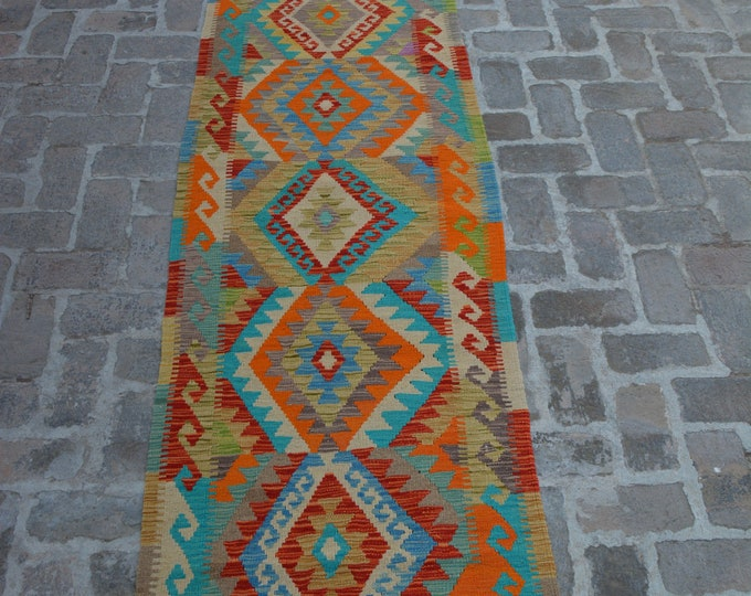 Colorful Handmade Afghan kilim Rug Runner/ Free Shipping - 78 x 395 cm